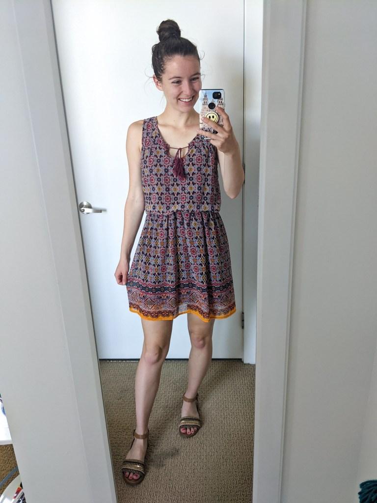 boho-print-dress-summer-style-brown-sandals