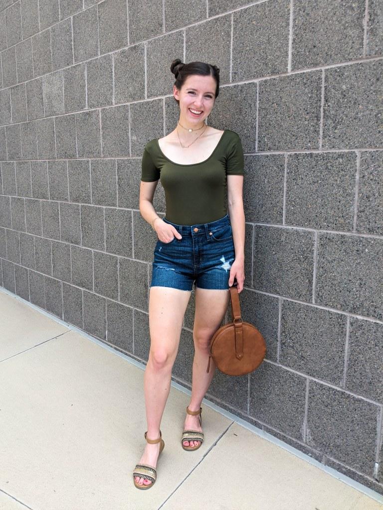olive-bodysuit-brown-purse-target-denim-shorts