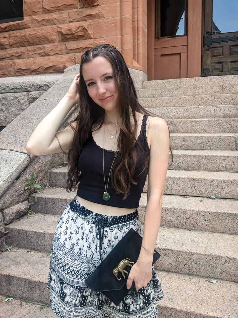 black-tank-top-printed-skirt-elephant-purse