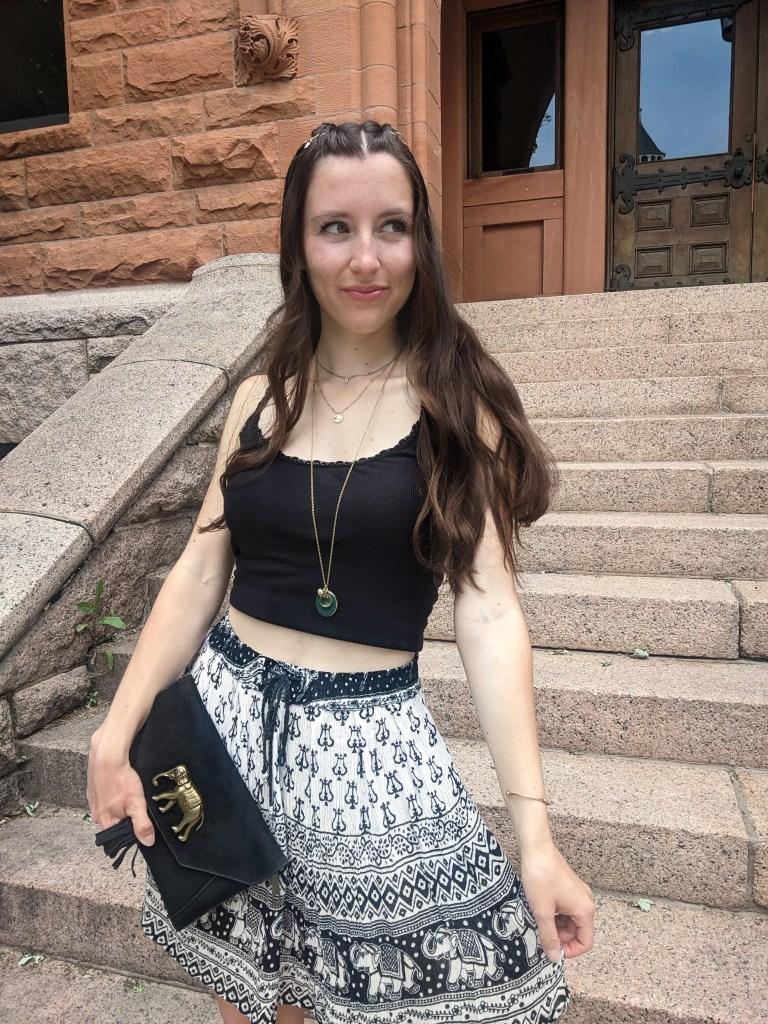 layered-necklaces-black-tank-printed-boho-skirt