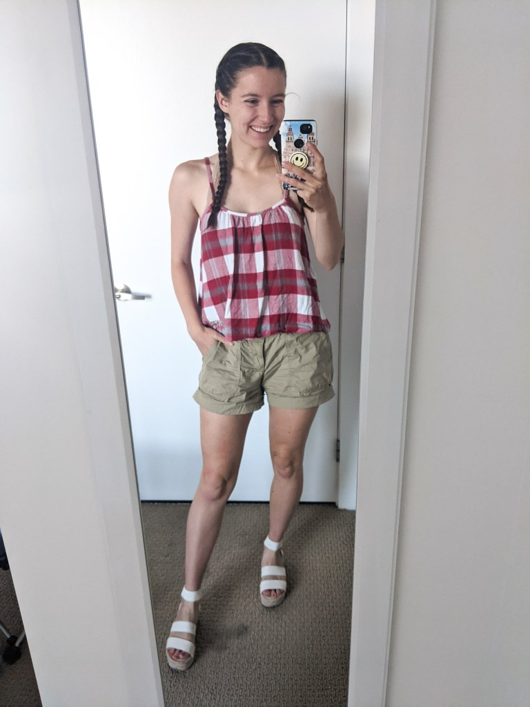 red-plaid-tank-khaki-shorts-white-espadrilles
