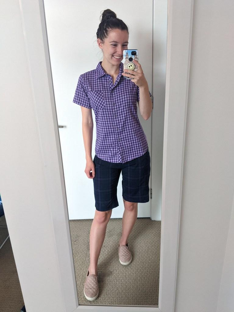purple-collared-shirt-plaid-shorts-club-ride