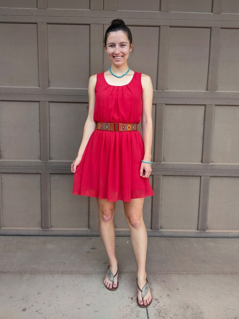 scarlet-dress-turquoise-jewelry-summer-outfit