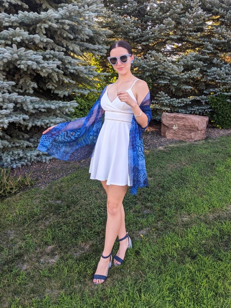white-dress-blue-scarf-striped-sunglasses-striped-sandals
