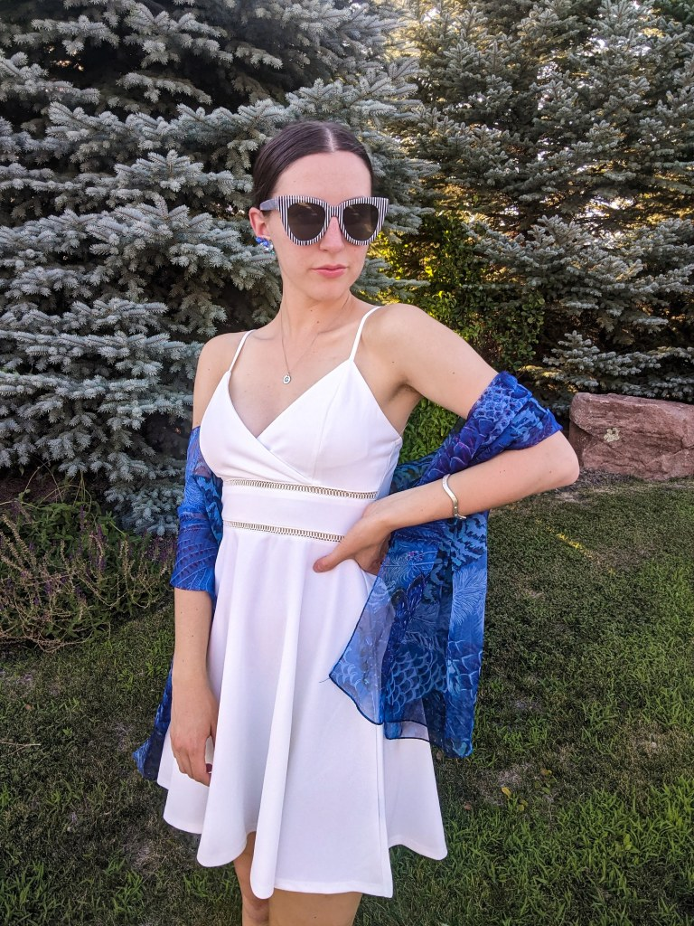 white-dress-thrifted-scarf-coverups-summer-style