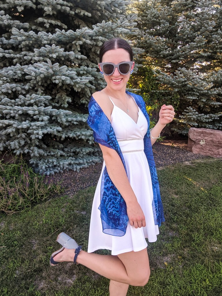 brunch-outfit-blue-scarf-white-dress-affordable-fashion