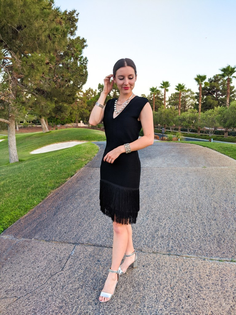 black-fringe-dress-secondhand-thrifted-low-bun-silver-heels