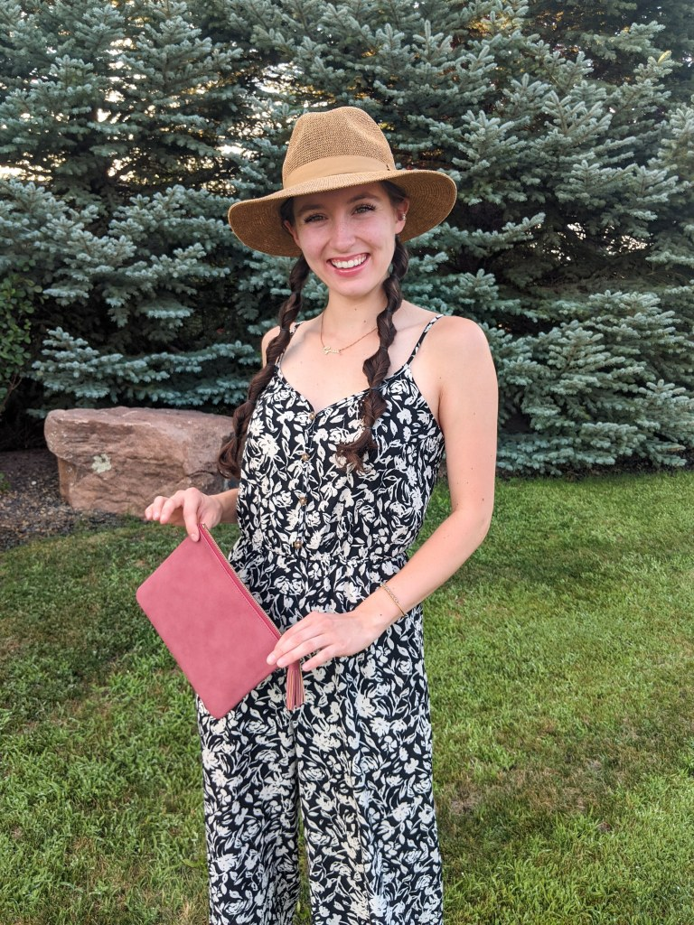 floral-jumpsuit-panama-hat-francescas-nordstrom-rack-clutch