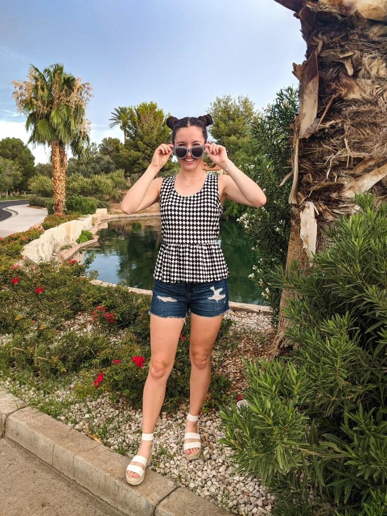 checkered-top-peplum-striped-sunglasses-denim-shorts