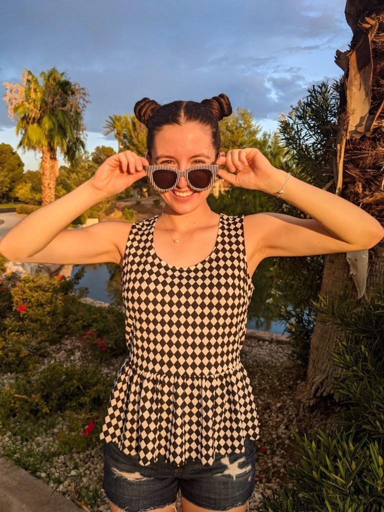 space-buns-striped-sunglasses-peplum-charming-charlie
