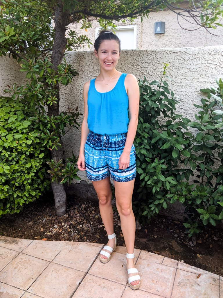 turquoise-romper-matching-set-tropical-shorts-white-espadrilles
