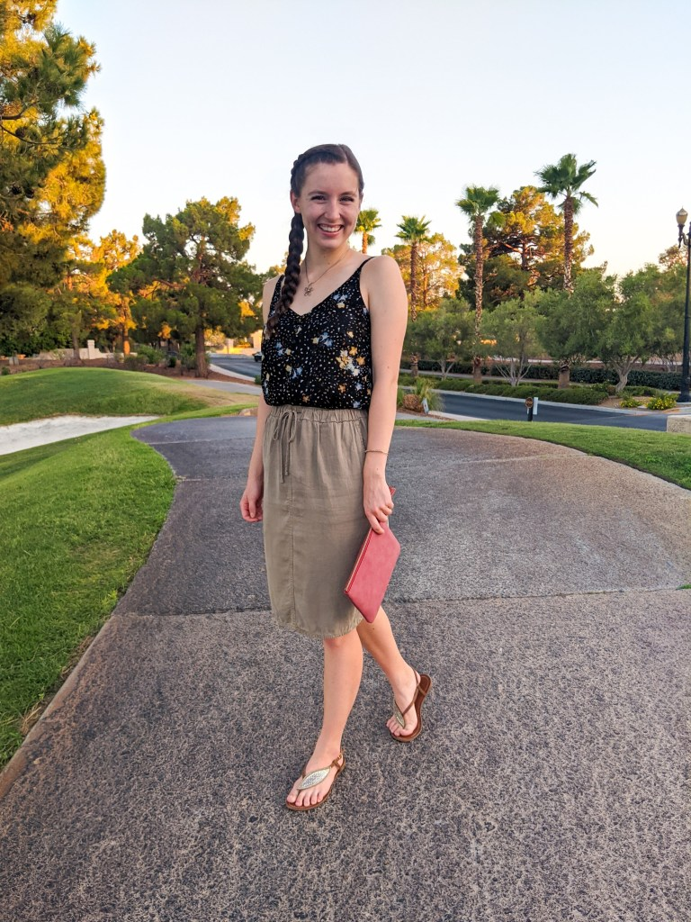 olive-green-skirt-salmon-colored-purse-francesca's