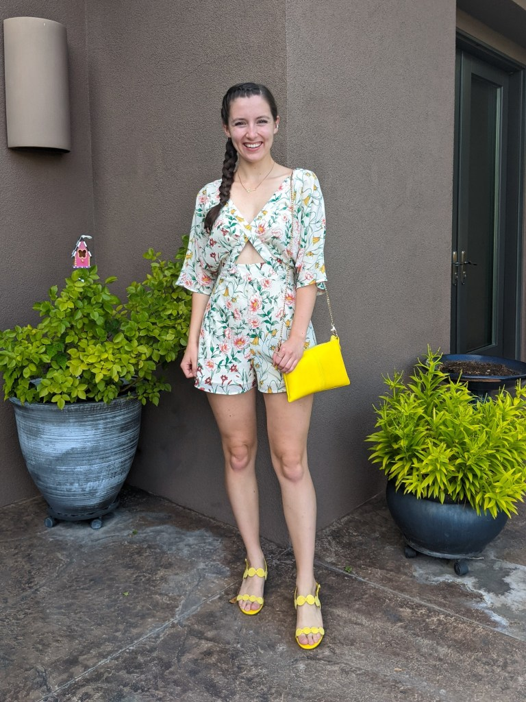floral-romper-secondhand-consignment-yellow-heels