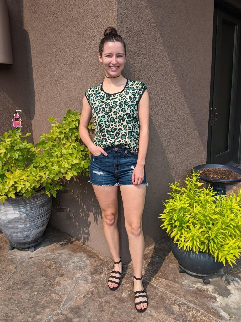 cabi-clothing-green-leopard-denim-shorts-black-sandals
