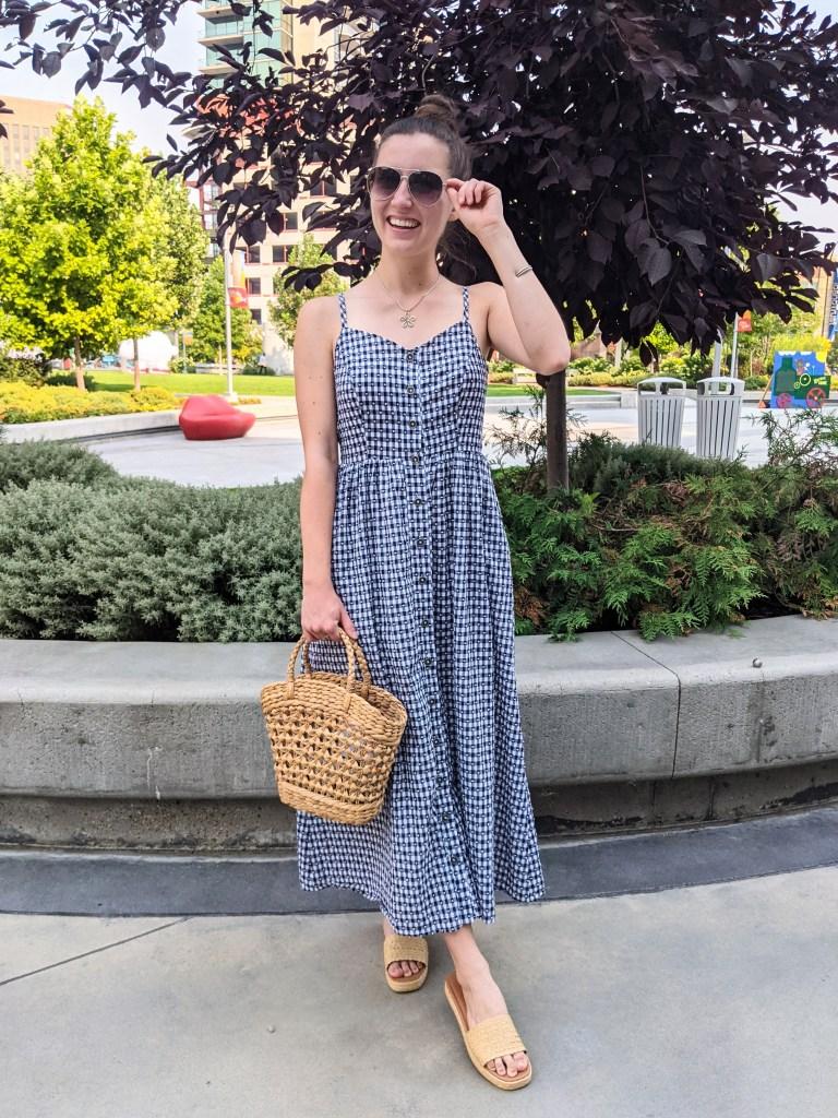 gingham-maxi-dress-consignment-alt-rebel-wicker-purse