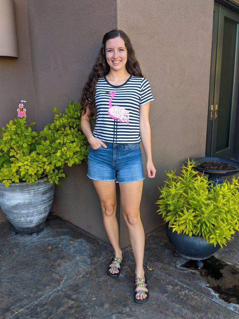 flamingo-tee-jcrew-stripes-denim-shorts-beaded-sandals