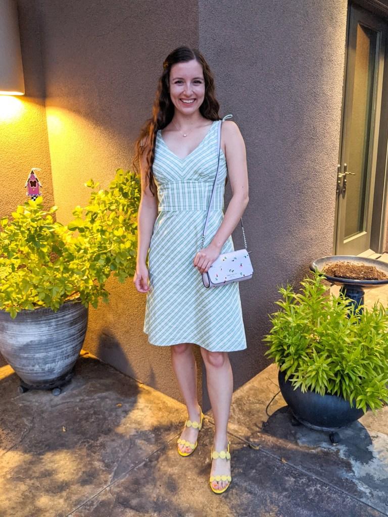 green-plaid-thrifted-dress-kate-spade-purse-yellow-heels