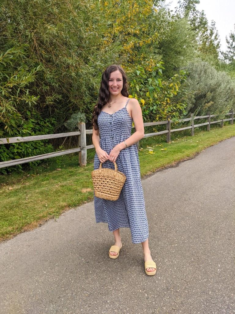 gingham-dress-consignment-straw-purse-raffia-sandals
