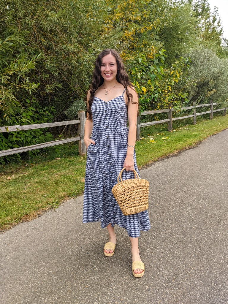 gingham-maxi-dress-summer-style-straw-accessories