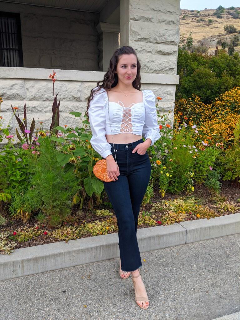 white-laceup-blouse-dark-wash-denim-cropped-flares