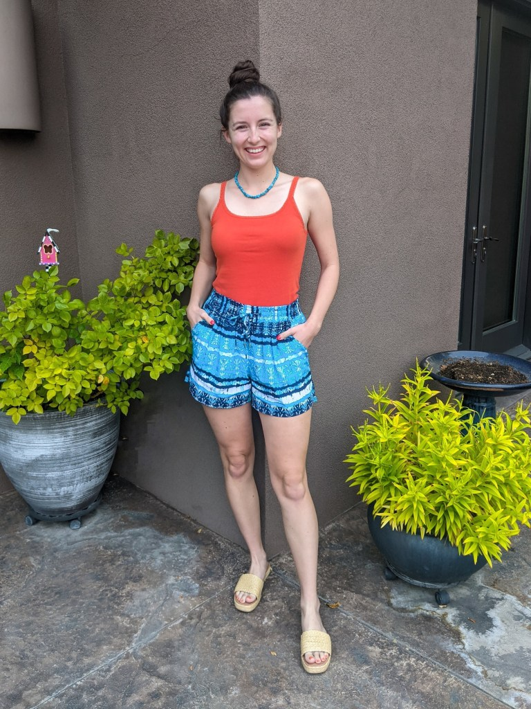 orange-tank-top-turquoise-shorts-interesting-color-combos