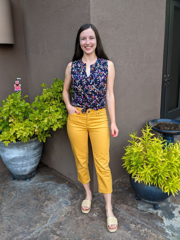 yellow-pants-navy-blouse-interesting-color-combos-jcpenney