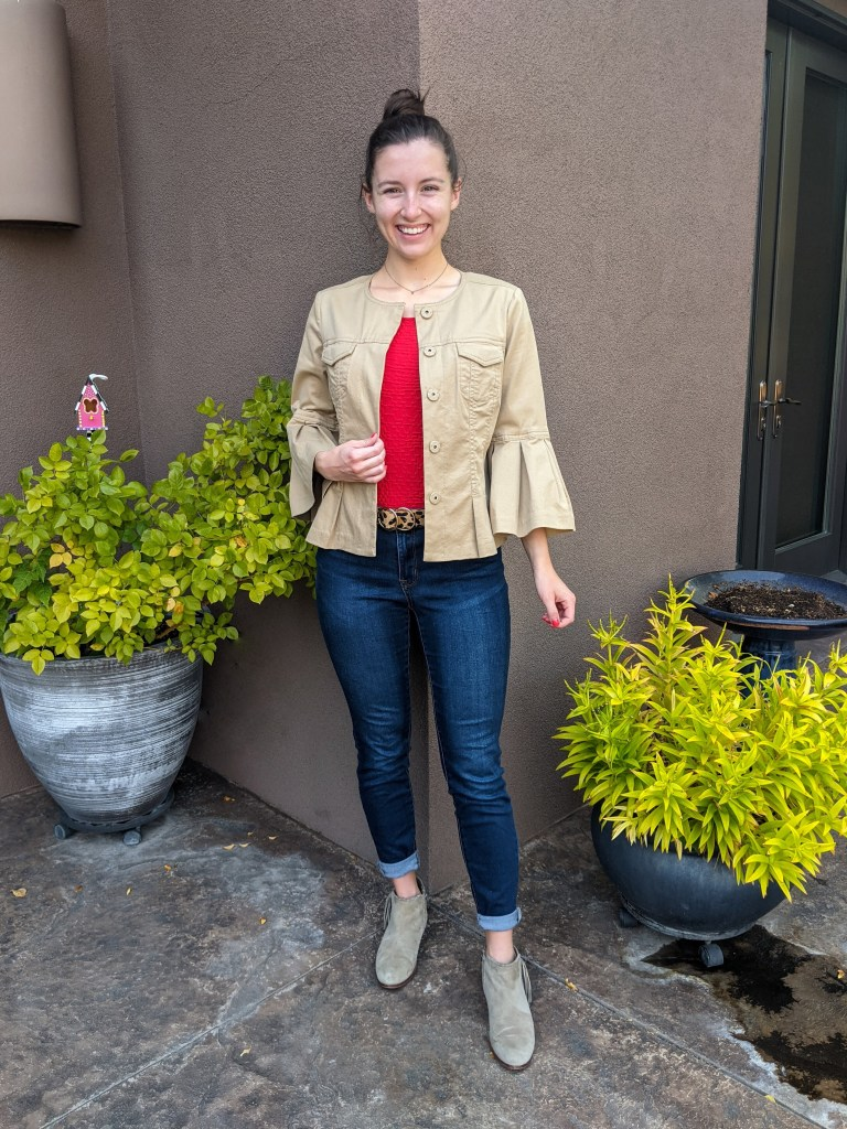 red-blouse-khaki-jacket-thrifted-skinny-jeans