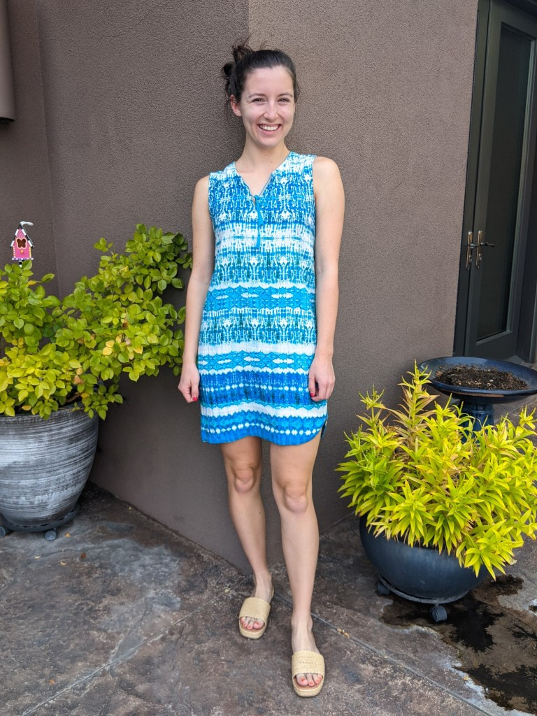 turquoise-dress-raffia-slides-summer-outfit