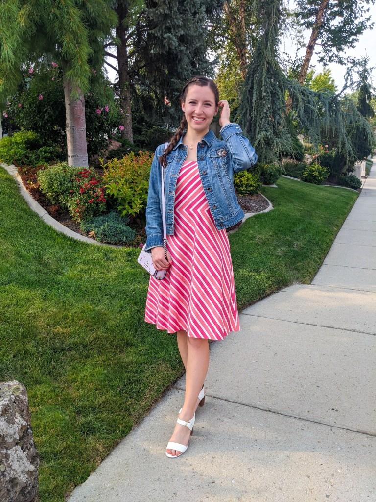 pink-striped-dress-secondhand-thrifted-find-denim-jacket