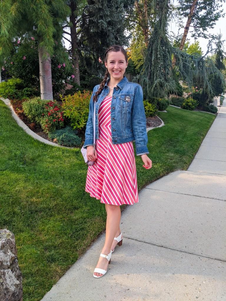 pink-striped-dress-denim-jacket-white-heels-ann-taylor