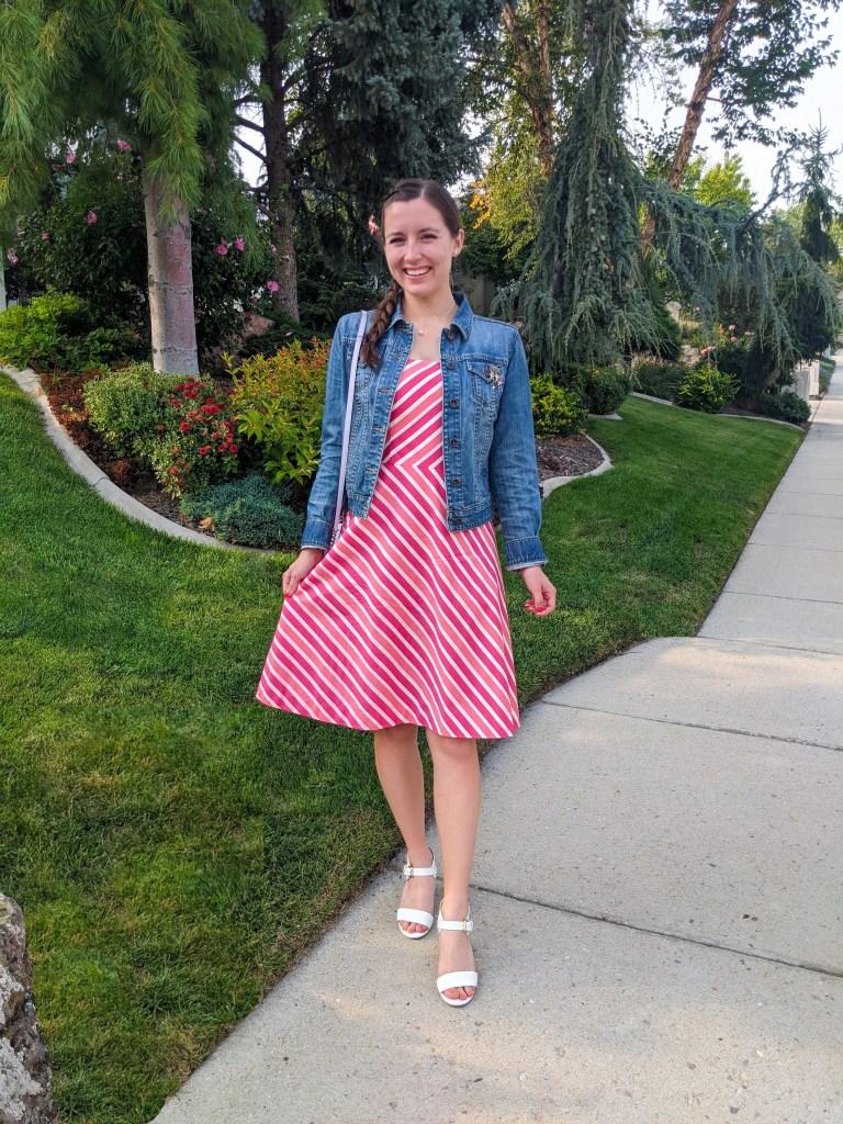 thrifted-dress-secondhand-finds-denim-jacket-white-heels