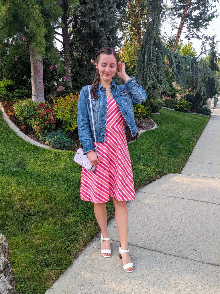 striped-dress-denim-jacket-white-heels-pink-dress