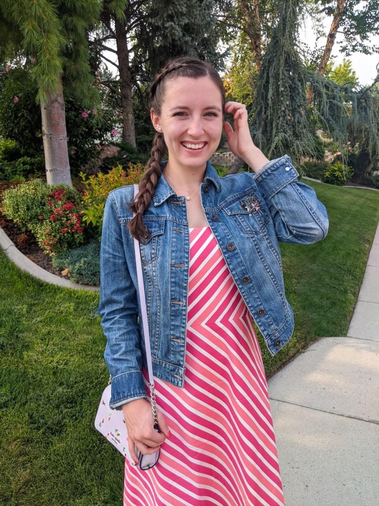 striped-pink-dress-denim-jacket-floral-purse-side-braid