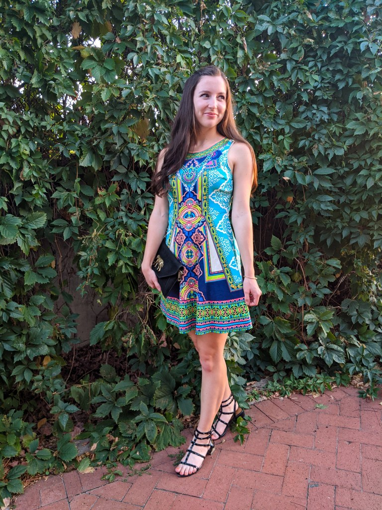 geometric-print-colorful-dress-fit-and-flare