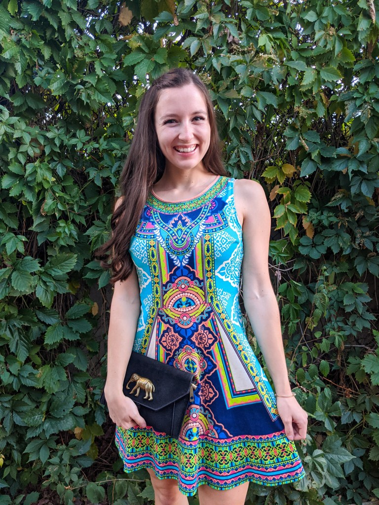 elephant-purse-colorful-dress-fit-and-flare
