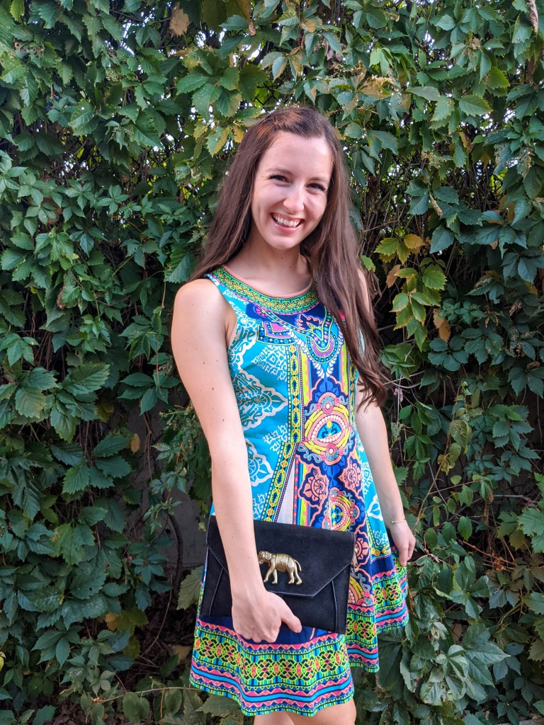 date-night-college-style-summer-dress-colorful-print-elephant-purse