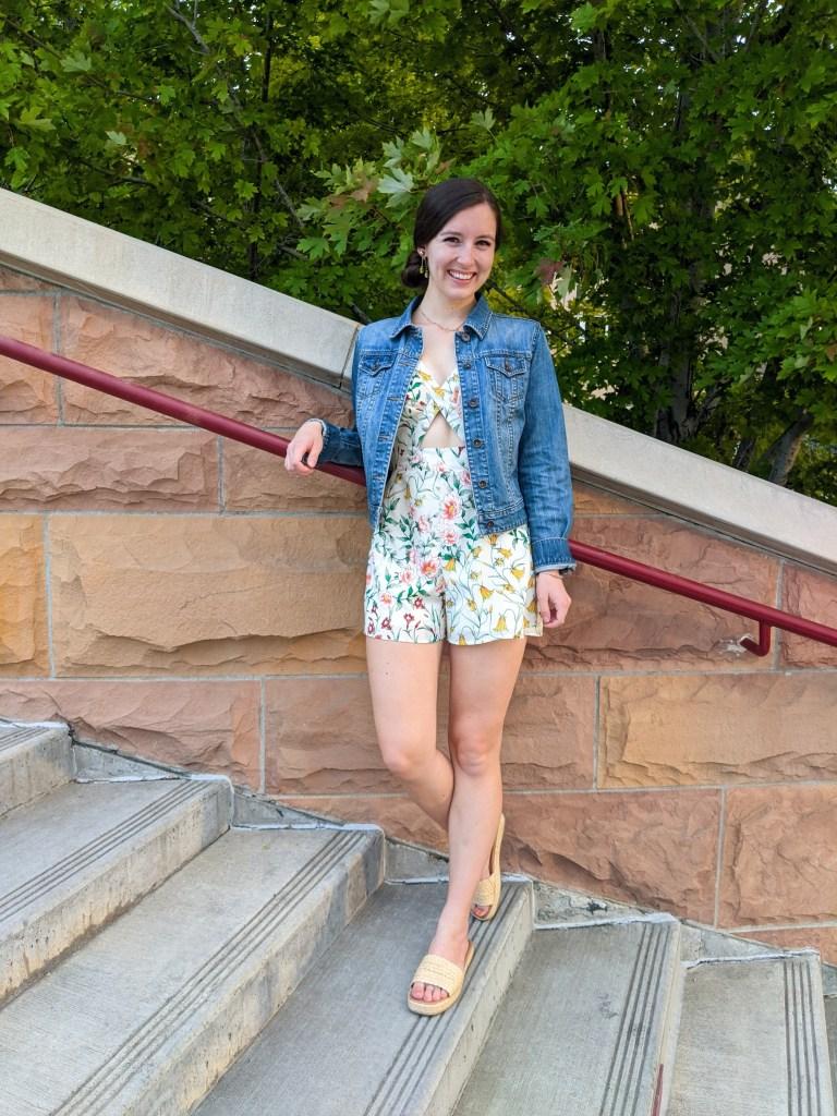 floral-romper-secondhand-consignment-denim-jacket