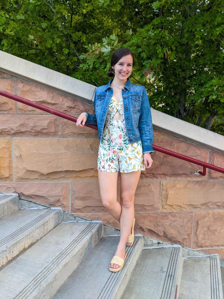 floral-romper-denim-jacket-raffia-slides