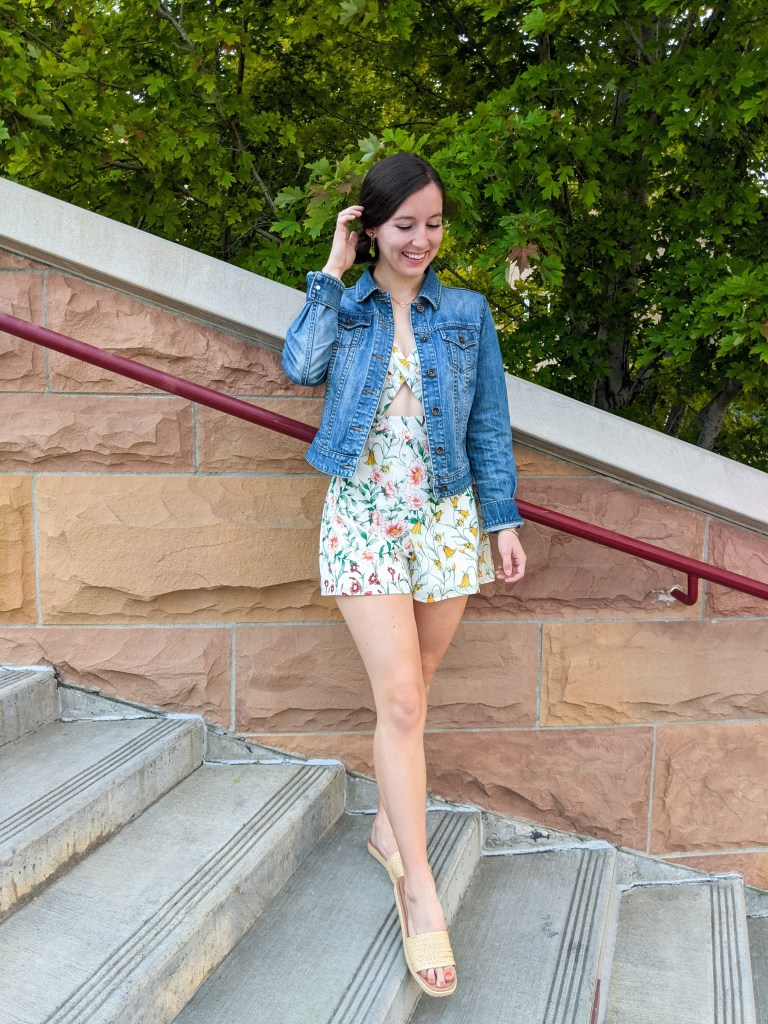 floral-romper-cutout-denim-jacket-date-night-raffia-slides