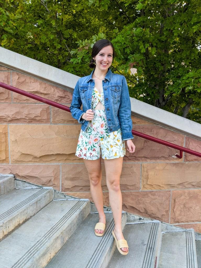 floral-romper-denim-jacket-thrifted-find-secondhand-raffia-slides
