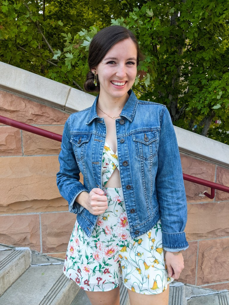 floral-thrifted-romper-denim-jacket-green-clip-on-earrings