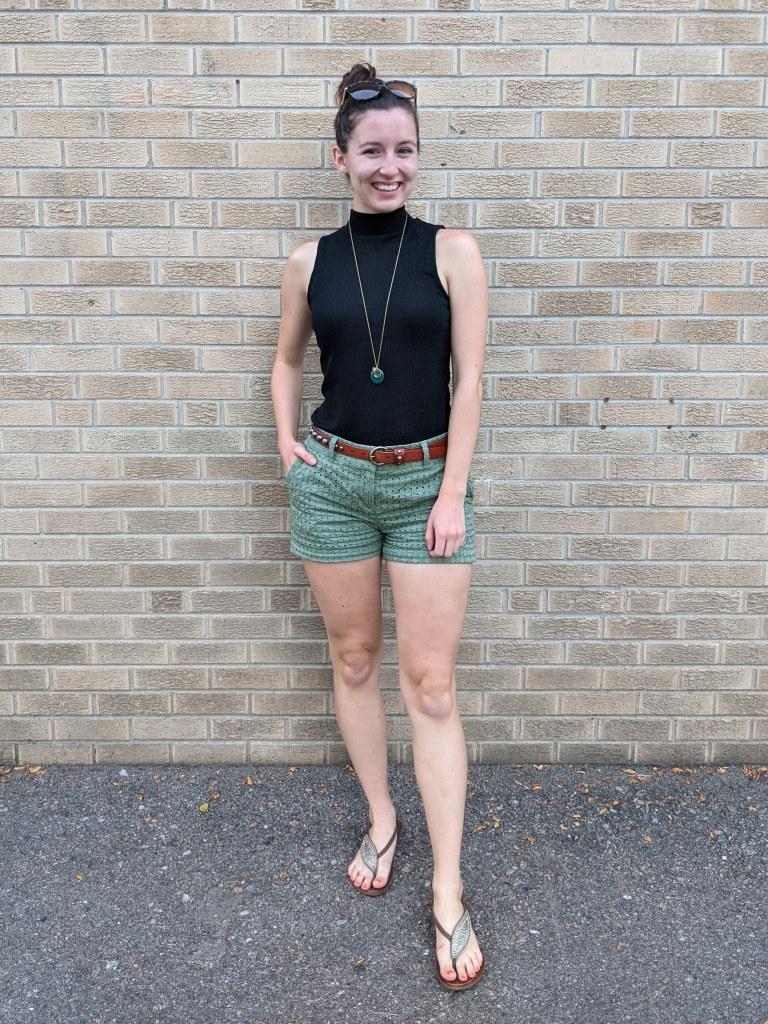 black-mock-neck-top-olive-green-shorts-brown-sandals