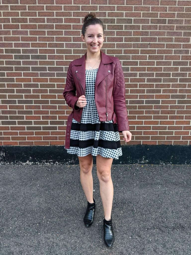 maroon-jacket-striped-gingham-dress-black-booties
