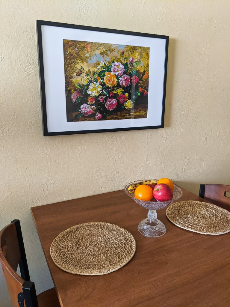 floral-painting-ikea-frame-fruit-bowl-woven-circular-placemats