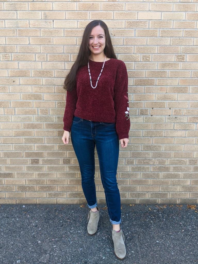 maroon-sweater-francesca's-skinny-jeans-beige-booties