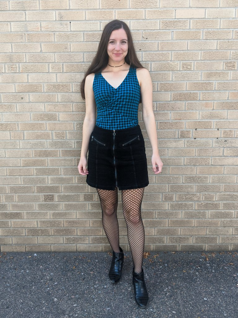 going-out-look-corduroy-skirt-houndstooth-top-fishnet-tights