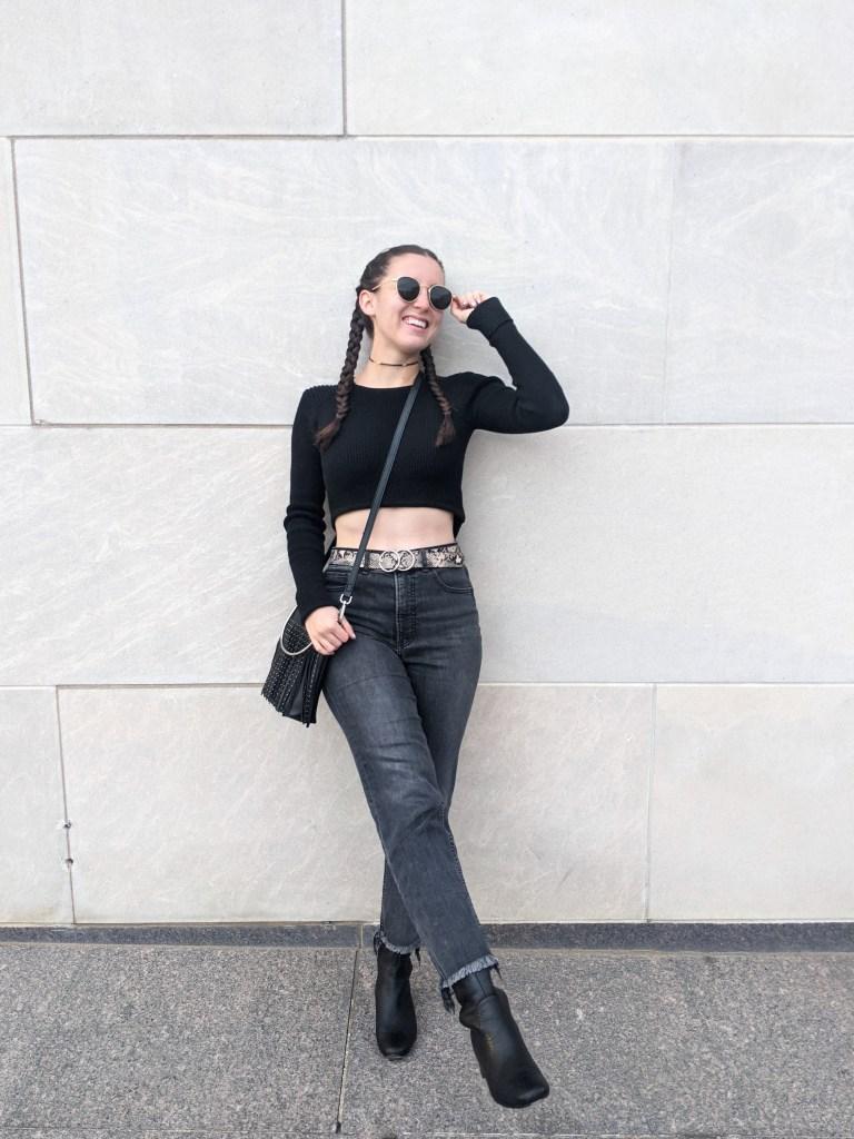 grey-mom-jeans-express-snakeskin-belt-black-boots-ribbed-sweater