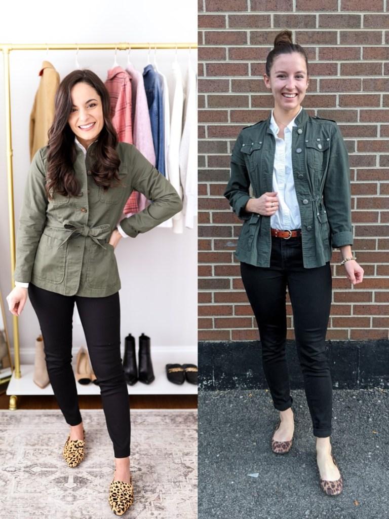 olive-green-jacket-white-button-down-black-pants-leopard-flats