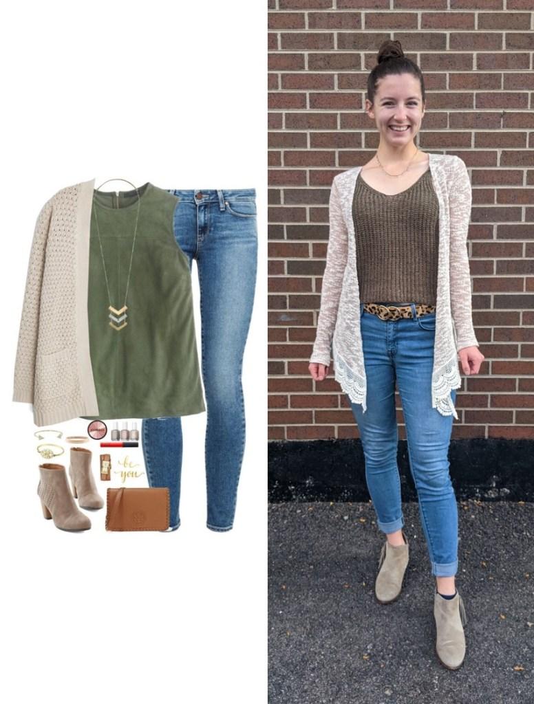 olive-green-sweater-tank-beige-cardigan-skinny-jeans-beige-booties