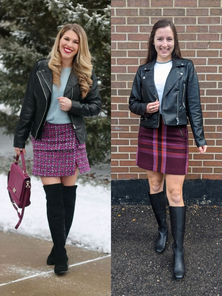white-sweater-black-pleather-jacket-plaid-skirt-black-knee-boots